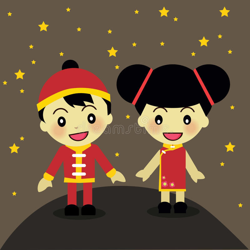 World Kids from China. World Kids diversity from China wear traditional clothes royalty free illustration