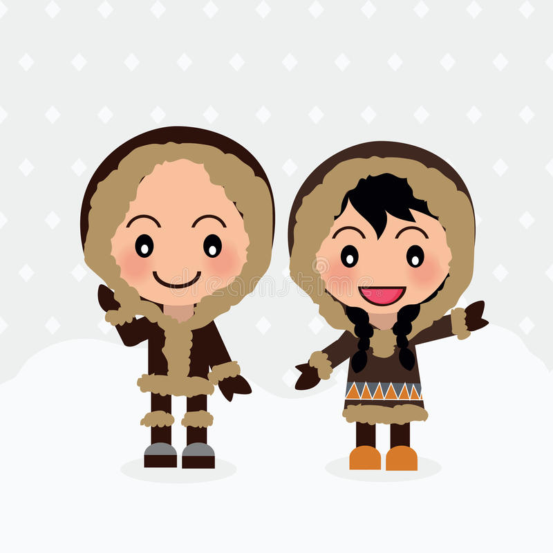 World Kids from Eskimo. World Kids diversity from Eskimo wear traditional clothes royalty free illustration
