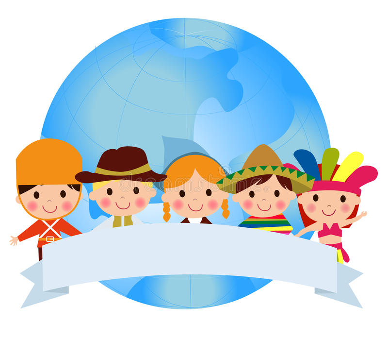 World kids. Illustration of world kids and globe royalty free illustration