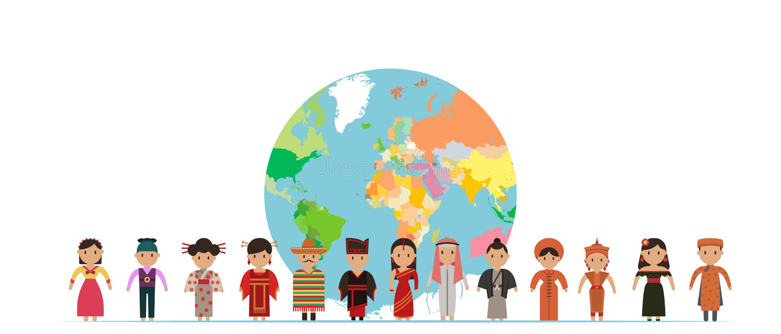 World kids. International friendship day! Vector illustration of diverse Children Holding Hands around the planet. On white background stock illustration