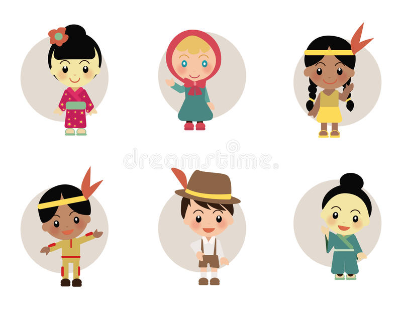 World Kids from Japan Holland Indian. World Kids diversity arround Japan Holland Indian wear traditional clothes stock illustration