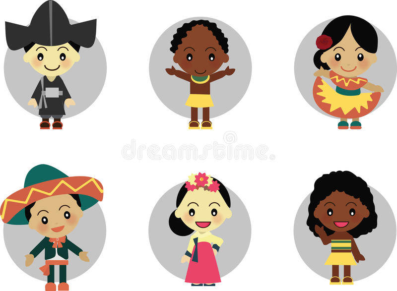 World Kids from Korea Mexico Africa. World Kids diversity arround Korea Mexico Africa wear traditional clothes stock illustration