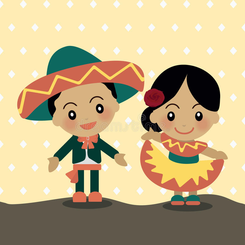 World Kids from Mexico. World Kids diversity from Mexico wear traditional clothes royalty free illustration