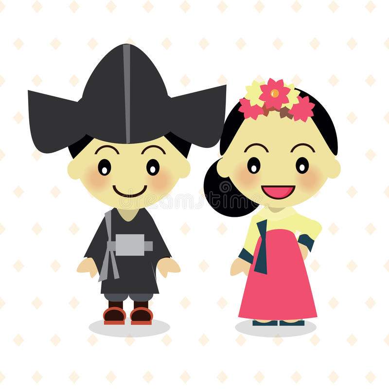 World Kids from South Korea. World Kids diversity from South Korea wear traditional clothes vector illustration