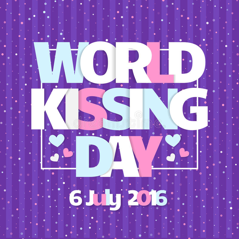 World Kissing Day card. Celebrate Kissing Day with hearts. In the background. Colorful illustration. Cute design. Typography poster vector illustration