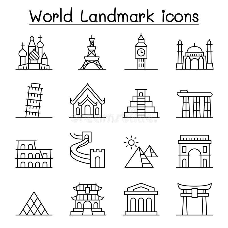 World landmark icon set in thin line style royalty free illustration