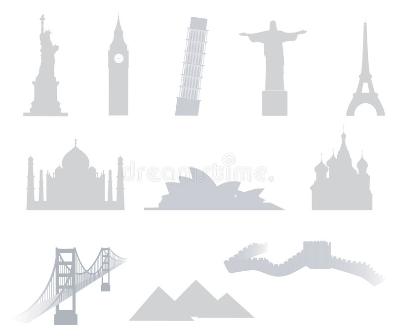 World landmarks. Eleven famous landmarks of the word: US Statue of Liberty, UK Big Ben, Italian Pisa Tower, Brasilian Christ The Redeemer Statue, French Eiffel