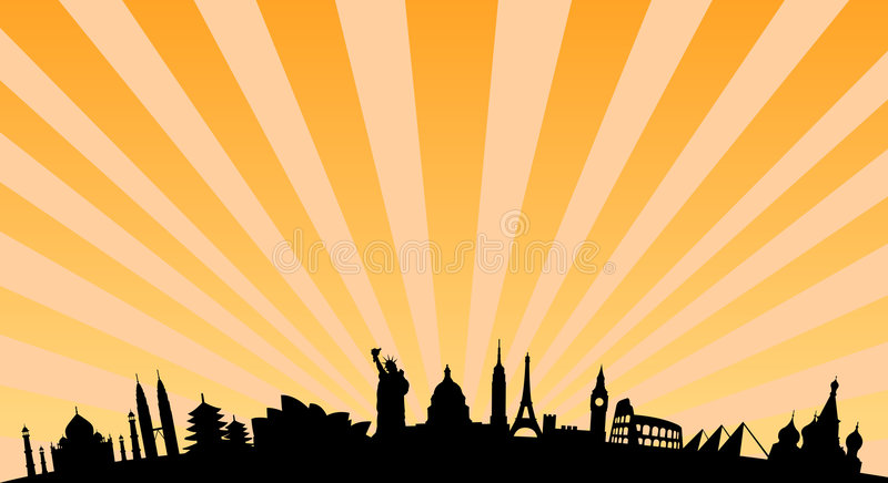 World landmarks background. Vector illustration with travel landmarks. including silhouettes of most famous landmarks and monuments of all the continents, from