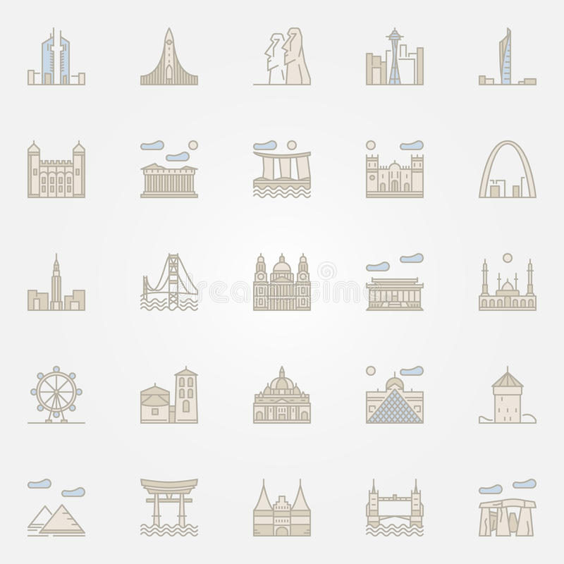 World landmarks colorful icons royalty free illustration