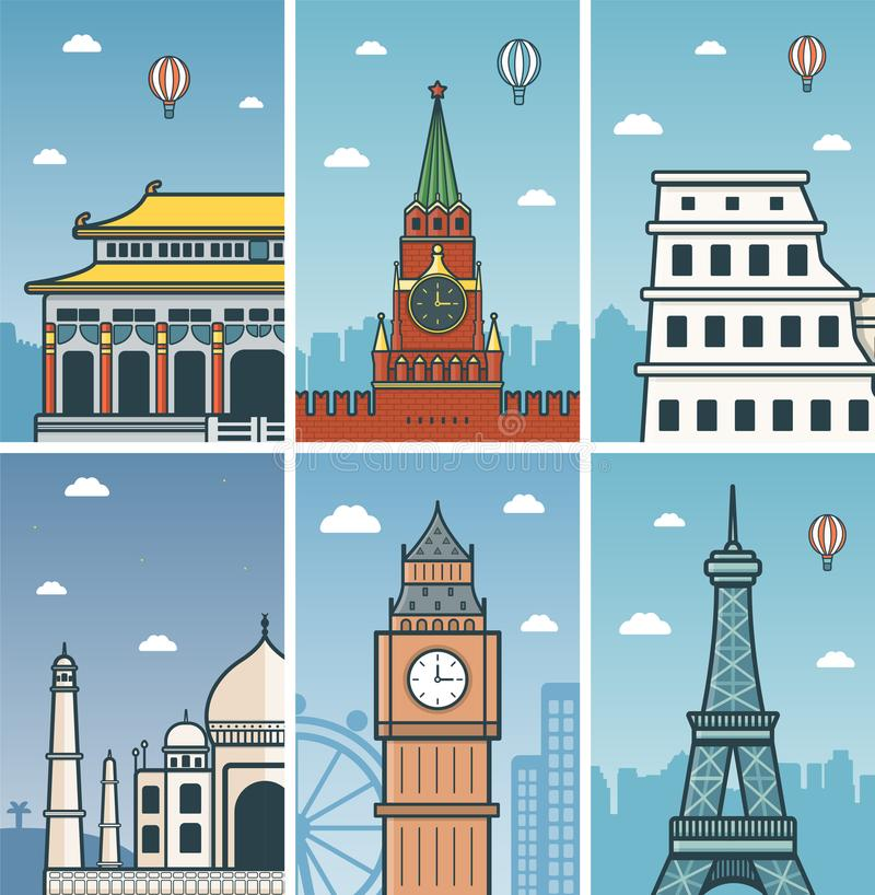 World Landmarks design with Cities skylines. stock illustration