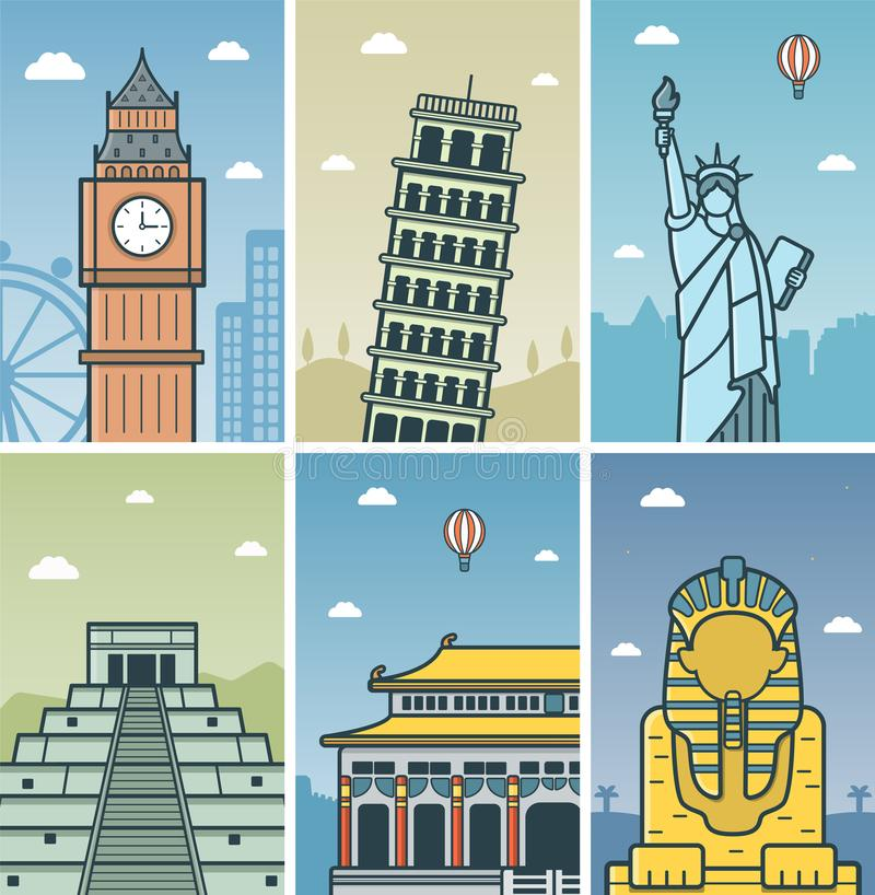 World Landmarks design royalty free illustration