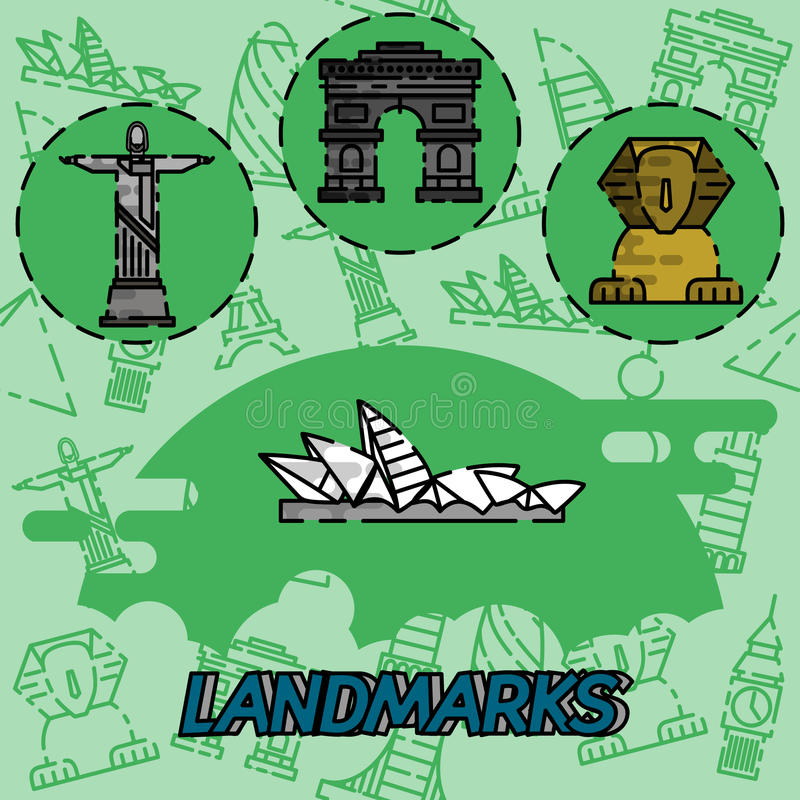 World landmarks flat concept icons vector illustration