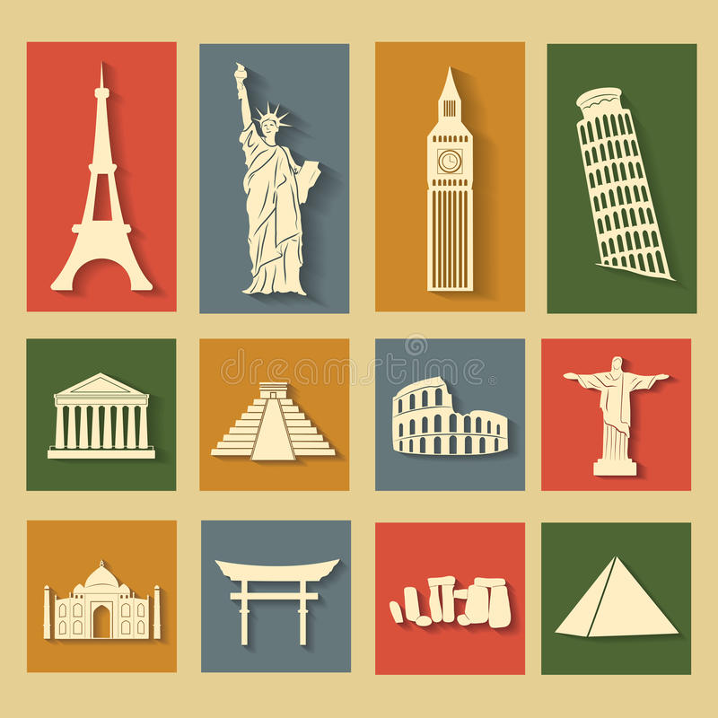 Download World Landmarks, Flat Icons Set Stock Illustration - Image: 36729651