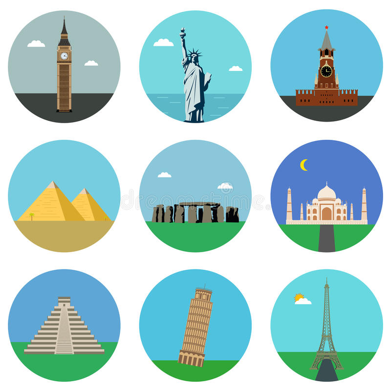 Download World Landmarks Flat Icons Set. Vector Stock Vector - Image: 88352543