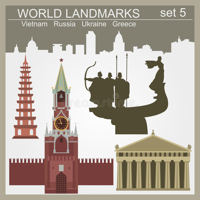 World landmarks icon set. Elements for creating infographics stock illustration