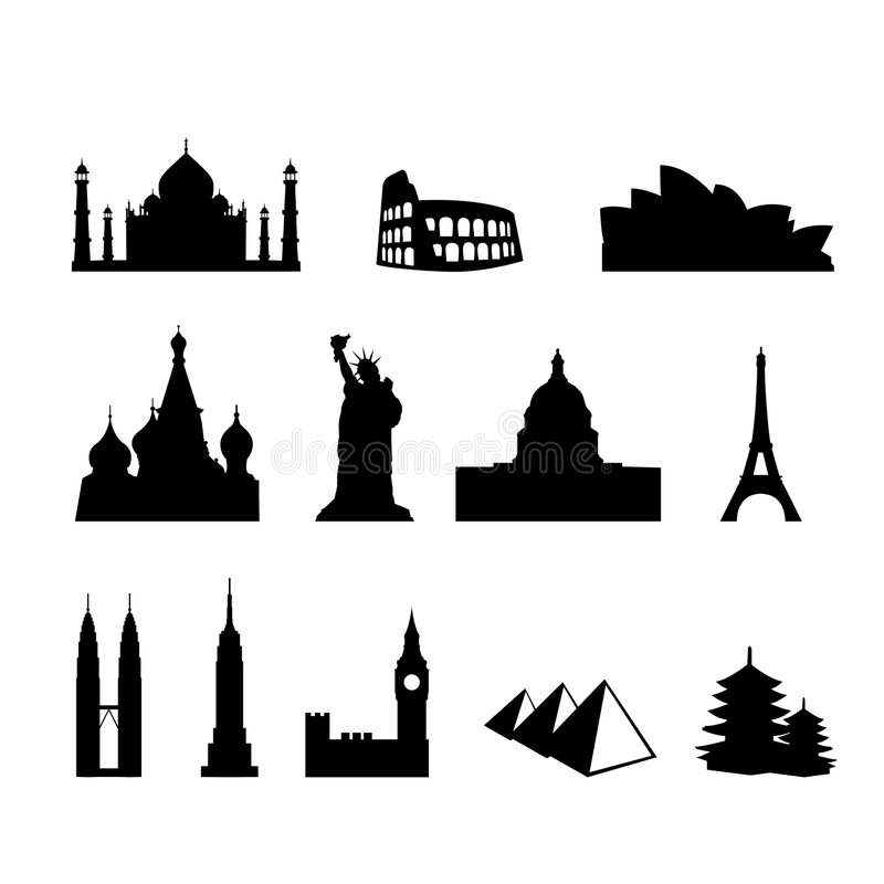 World landmarks and monuments royalty free illustration