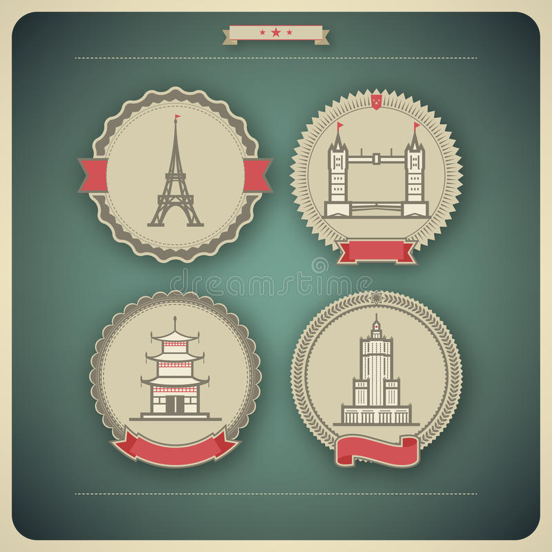 World Landmarks. Most famous Architecture Landmarks Around the World, pictured here from left to right, top to bottom: Eiffel tower (France), Tower Bridge ( royalty free illustration