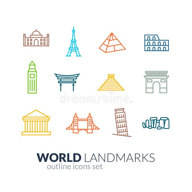 World landmarks outline icons set stock illustration
