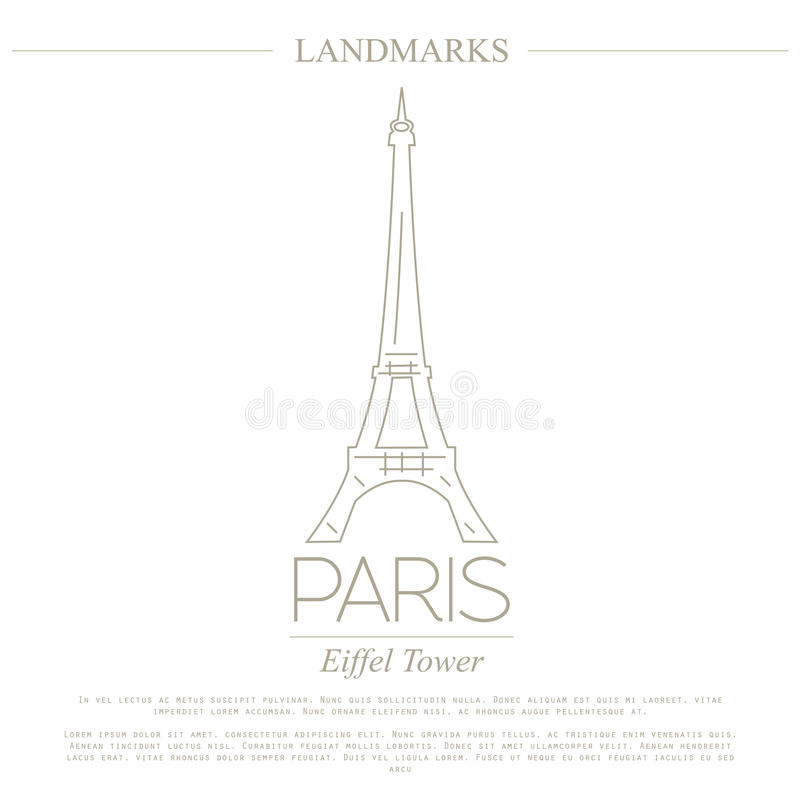 World landmarks. Paris. France. Eiffel tower. Graphic template. Logos and badges. Linear design. Vector illustration stock illustration