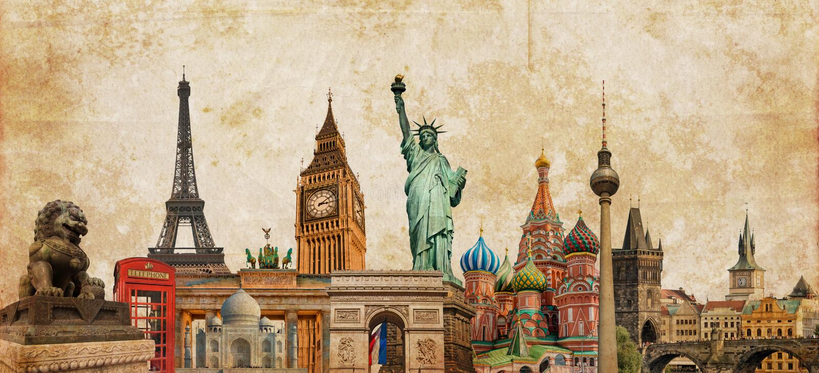 World landmarks photo collage on vintage tes sepia textured background, travel tourism and study around the world concept, vintag. World landmarks photo collage