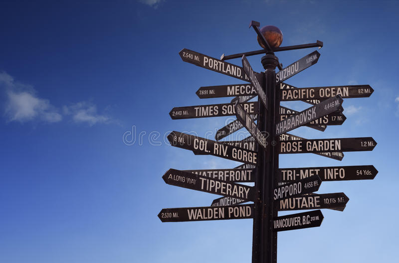 Download World Landmarks Signpost With Blue Sky And Free Copy Space Stock Photo - Image of moody, flight: 50015930