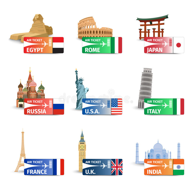 World landmarks ticket set royalty free illustration