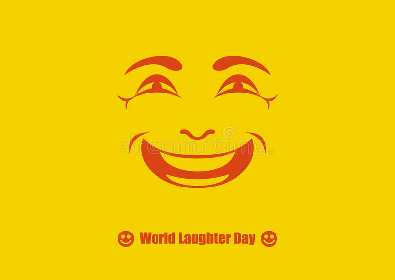 World Laughter Day vector. Funny holiday. Smiling face on yellow background. Important day royalty free illustration