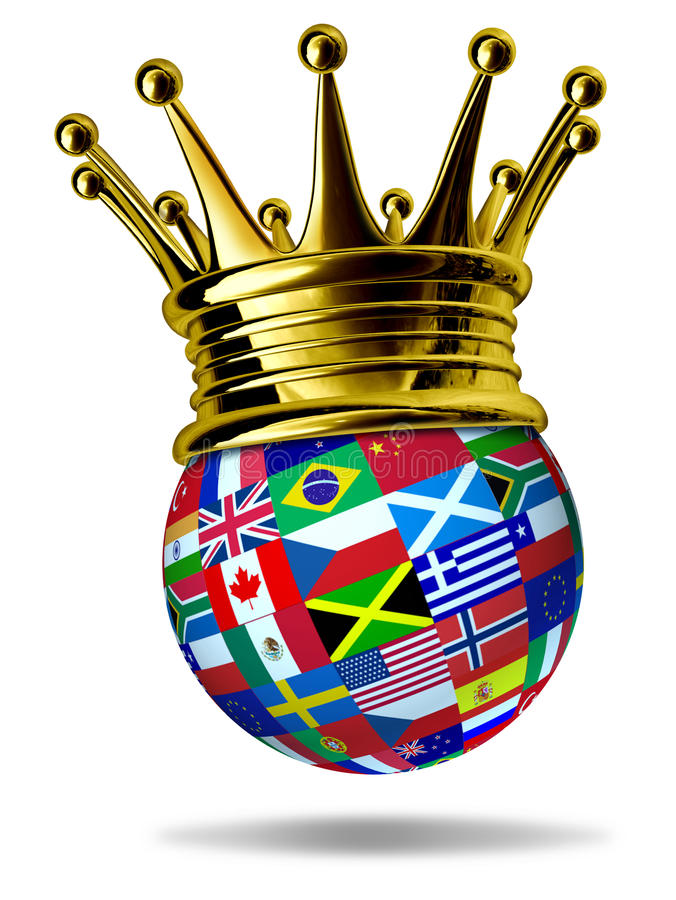World leader with global flags and gold crown stock illustration