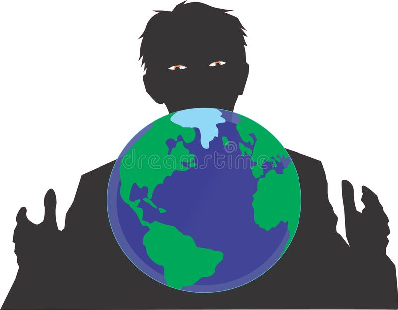World leader. The world leader who organizes all human activities, the mysterious royalty free illustration