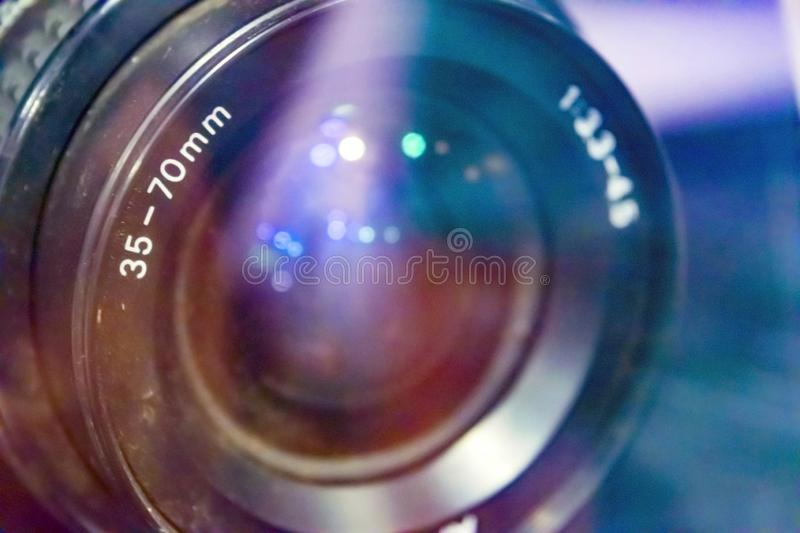 World through a lens. World lens camera leans lebs cameralens dslr round light color stock photography