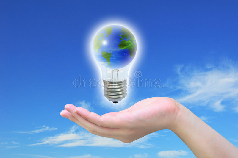 World In Light Bulb Stock Photography
