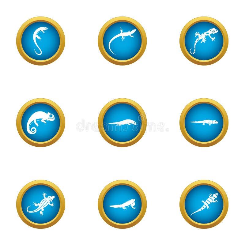 World of lizard icons set, flat style royalty free illustration