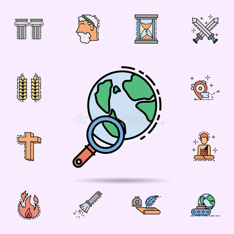 World, loupe, zoom, search icon. Universal set of history for website design and development, app development. On color background vector illustration