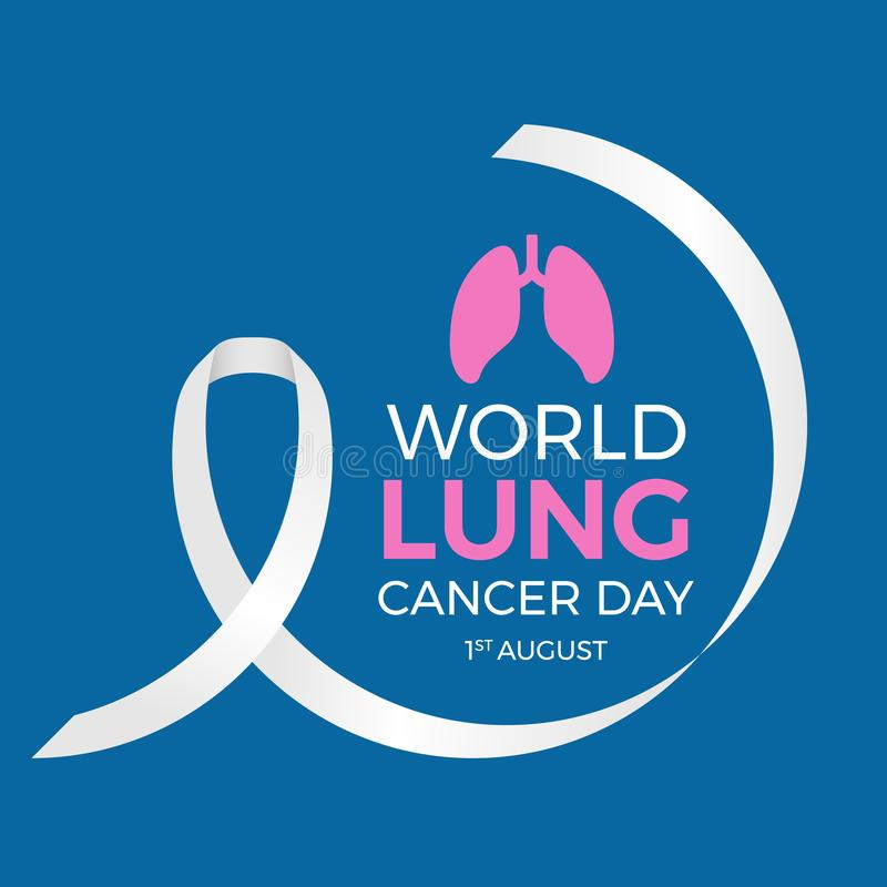 World lung cancer day banner with circle white ribbon anf lung sign on blue background vector design stock illustration