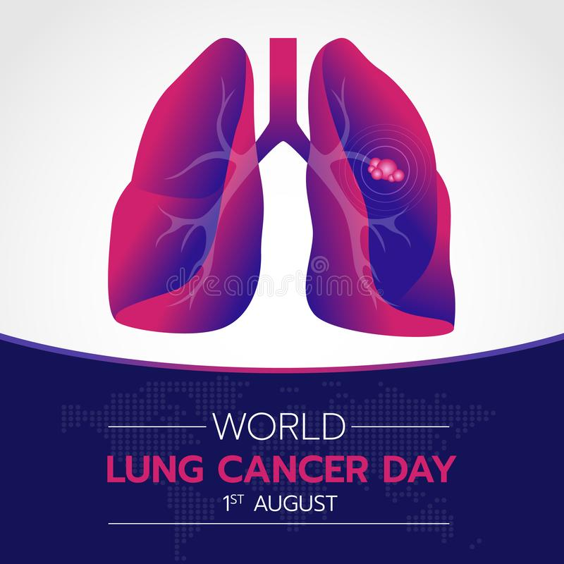 World lung cancer day banner with Purple and pink gradient lung cancer sign vector design royalty free illustration