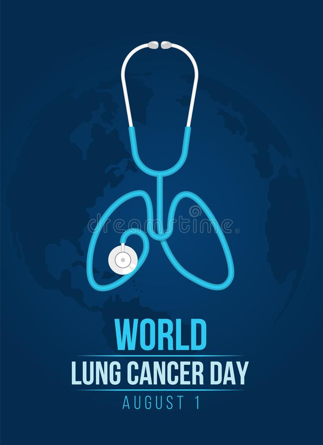 World lung cancer day banner with lung stethoscope roll shape lung sign on blue dark world map vector design stock illustration