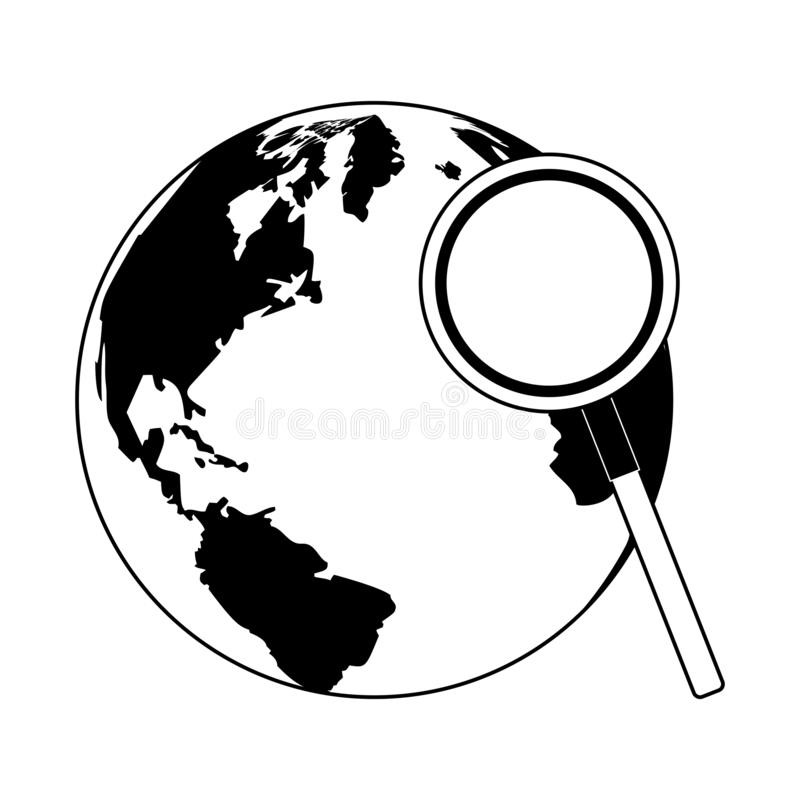 World and magnifying glass in black and white. World and magnifying glass vector illustration graphic design royalty free illustration