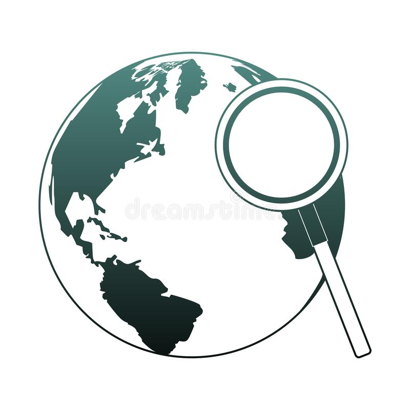 World and magnifying glass blue lines. World and magnifying glass vector illustration graphic design royalty free illustration