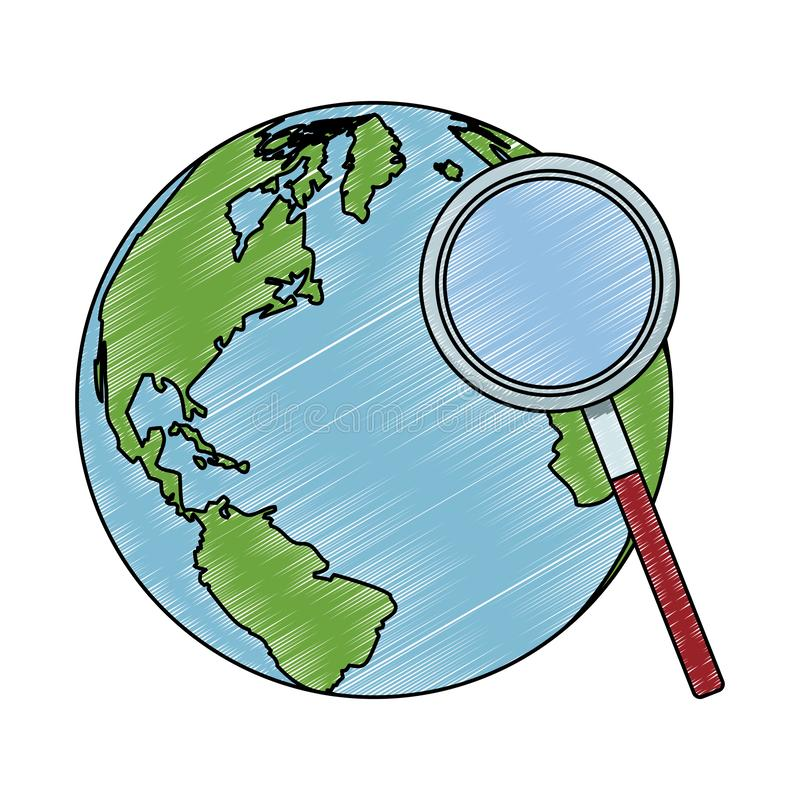 World and magnifying glass scribble. World and magnifying glass vector illustration graphic design royalty free illustration
