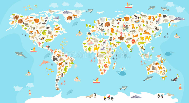 World mammal map. Beautiful cheerful colorful vector illustration for children and kids. Preschool, baby, continents, oceans, drawn, Earth stock illustration