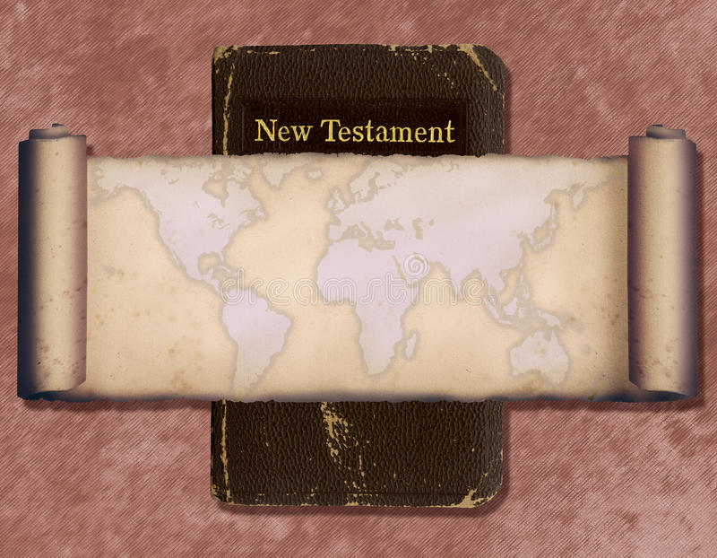 World Map. This is a collage with a Bible and a vintage scroll map royalty free stock photo