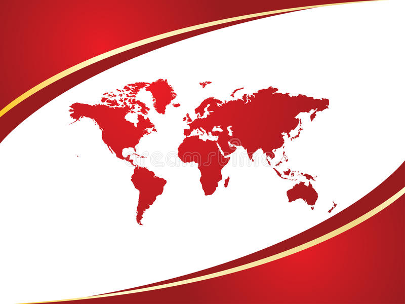 World map. With red background royalty free illustration