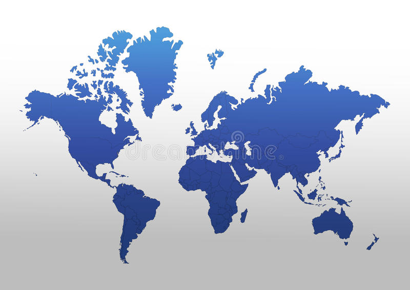 World map. Political world map . concept in blue