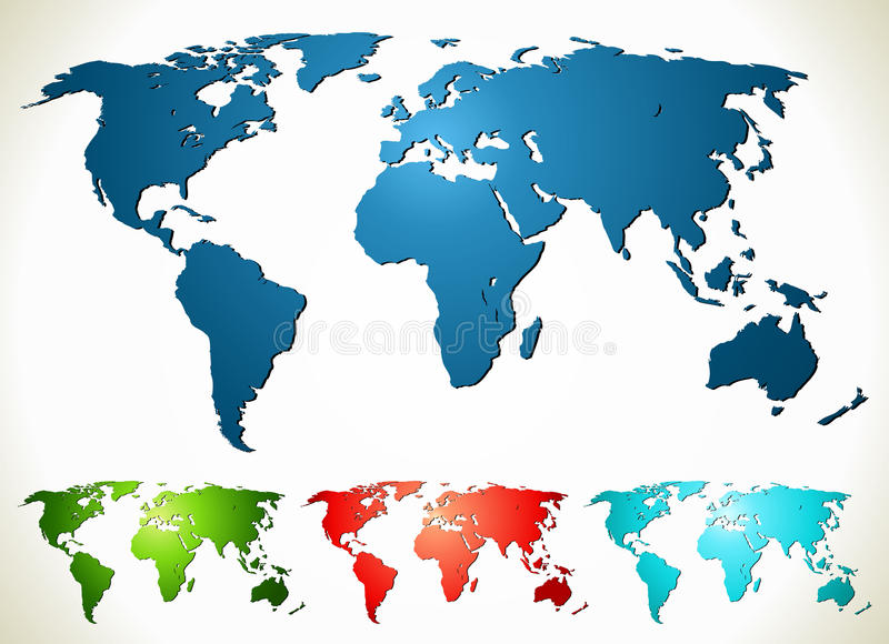 World map. Vector illustration in different color