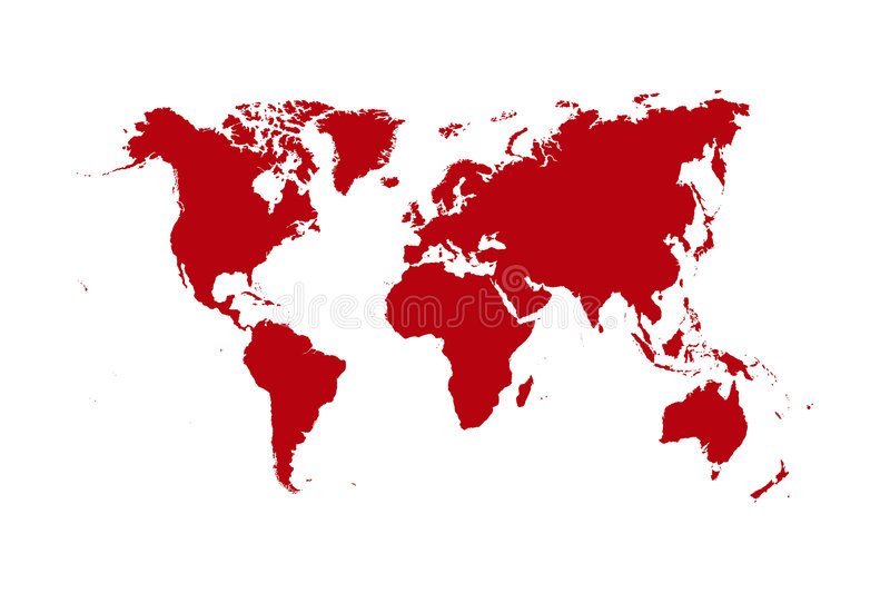 World map. Red world map isolated over a white background