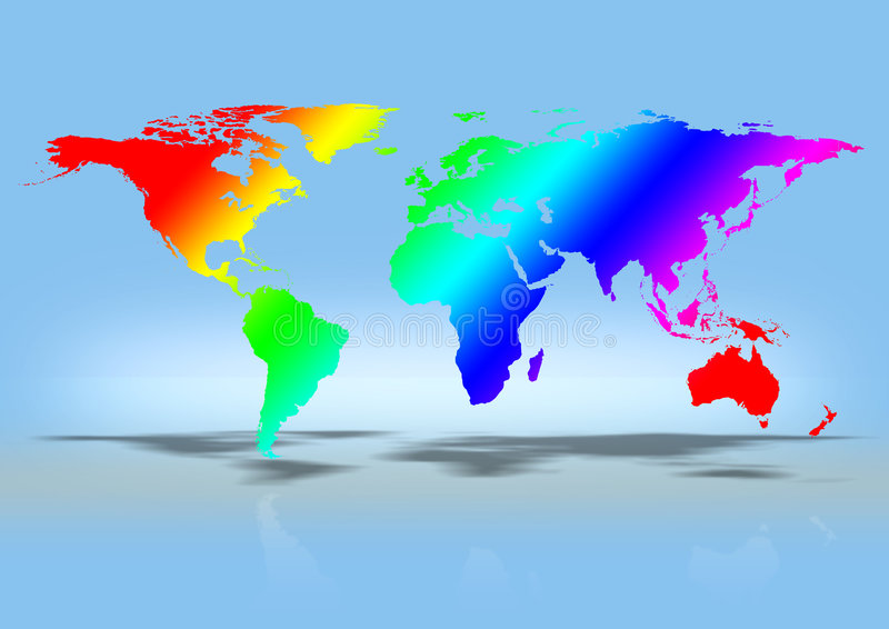 World map. Rainbow coloured stock illustration