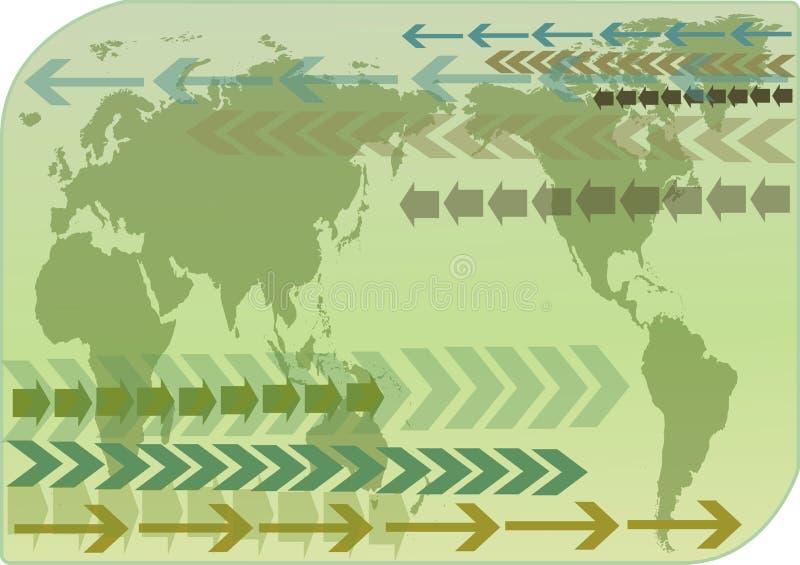 World map. On green background royalty free illustration