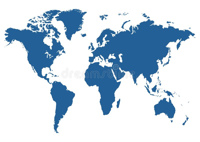 World map. Illustrated blue map of the world on a white background royalty free illustration