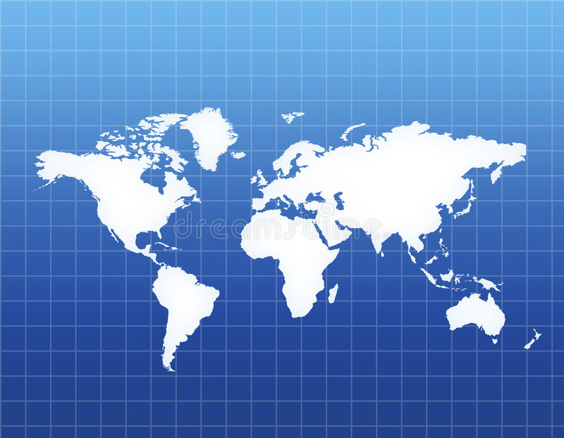 World Map. [America , Europe, Asia, Africa ]Stylish white world map with Blue background vector illustration
