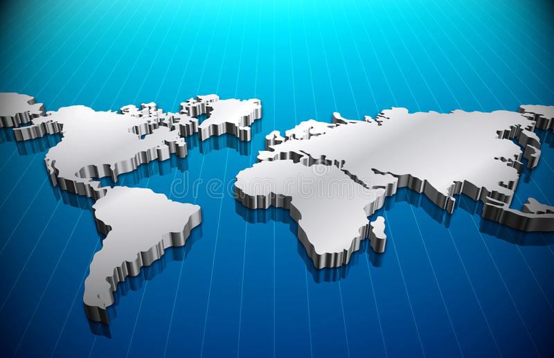 World Map. With all the continents Asia, Africa, America, Australia, Europe stock illustration